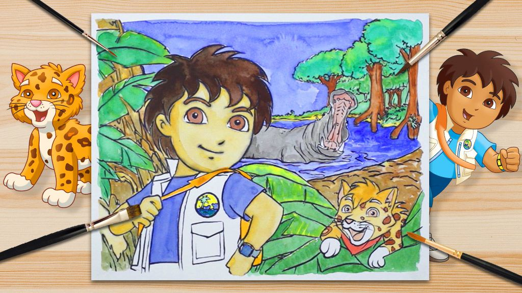 1 2 3 A Colorear Diego Y El Jaguar Bebé