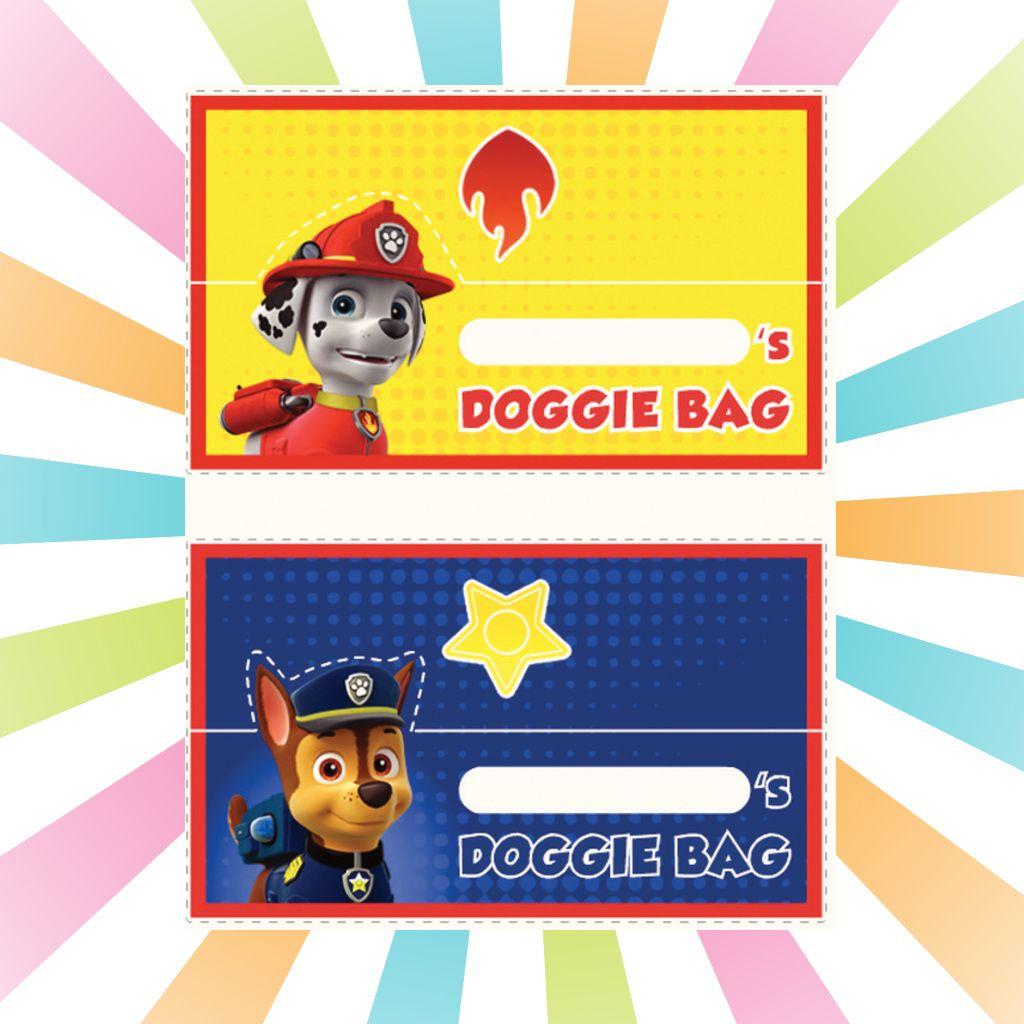 paw patrol  printable doggie bag labels