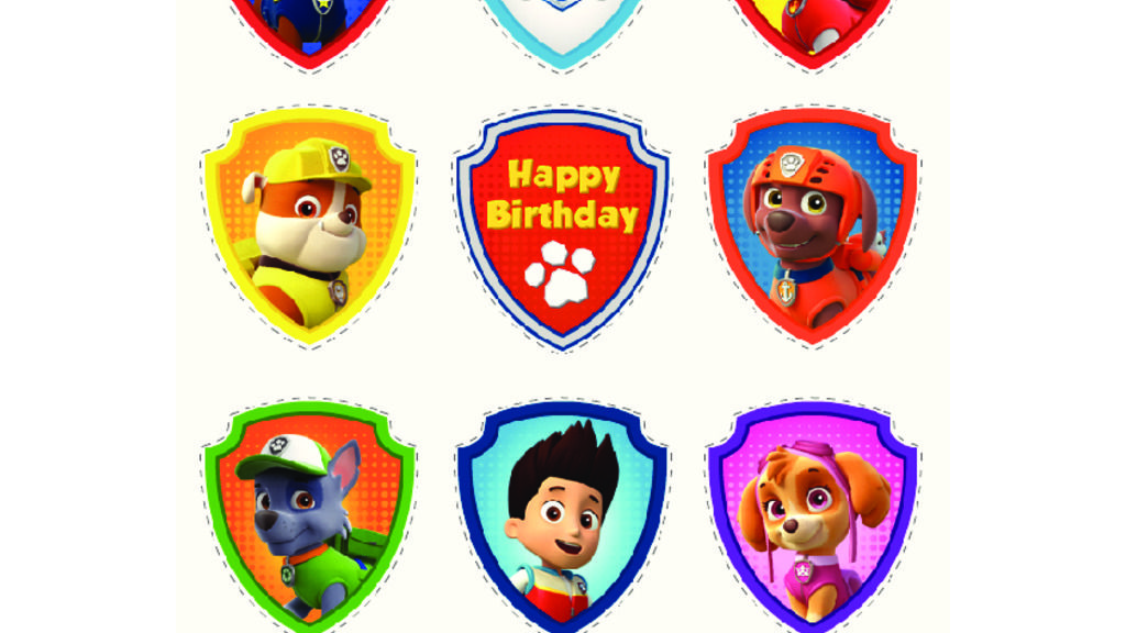 Paw Patrol Paw Patrol Party Cupcake Toppers Colouring