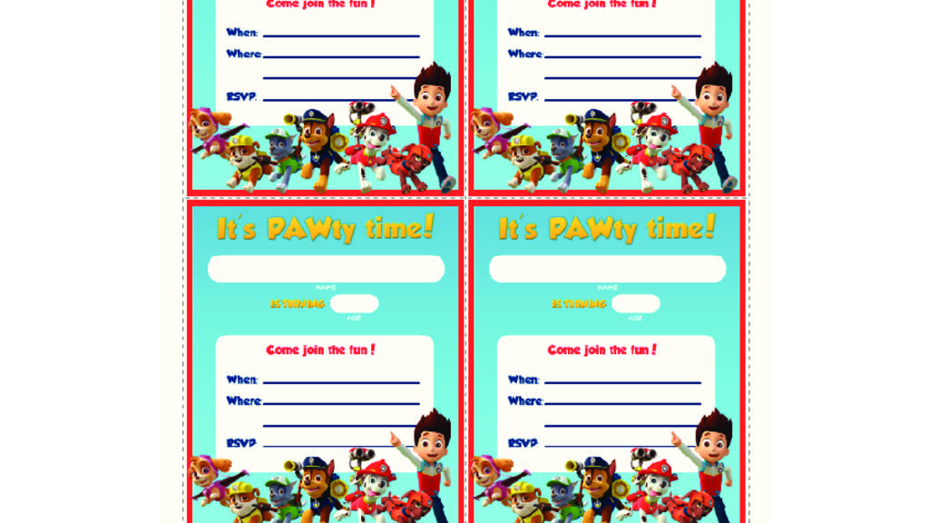 PAW Patrol PAW Patrol - Party Invites: Colouring Pages for ...