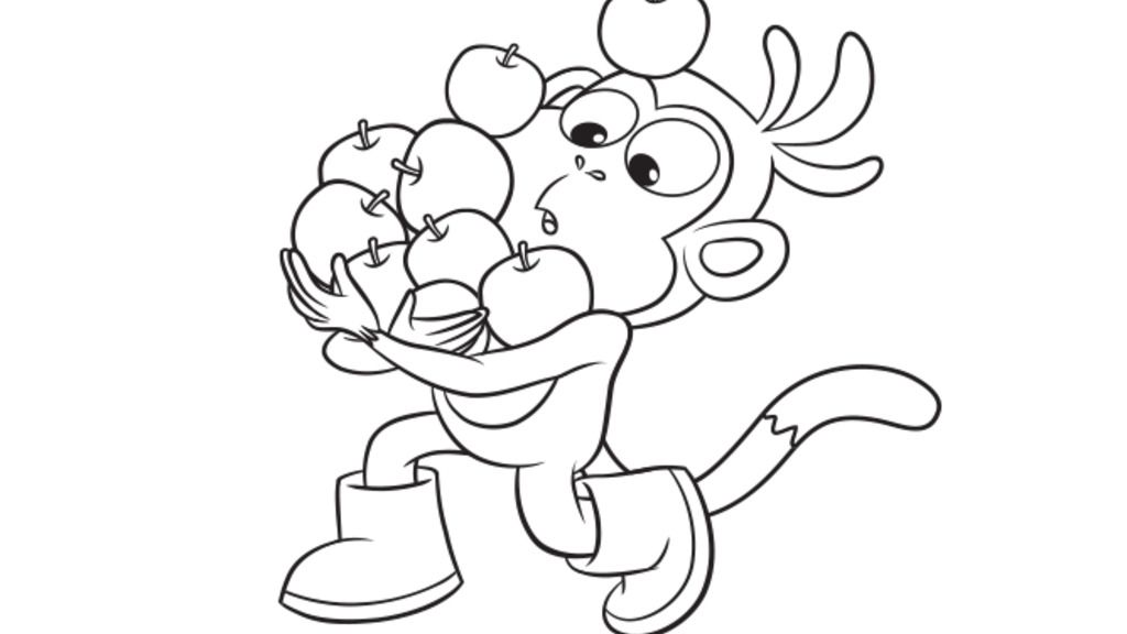 Dora The Explorer Boots Apple Colour Colouring Pages For
