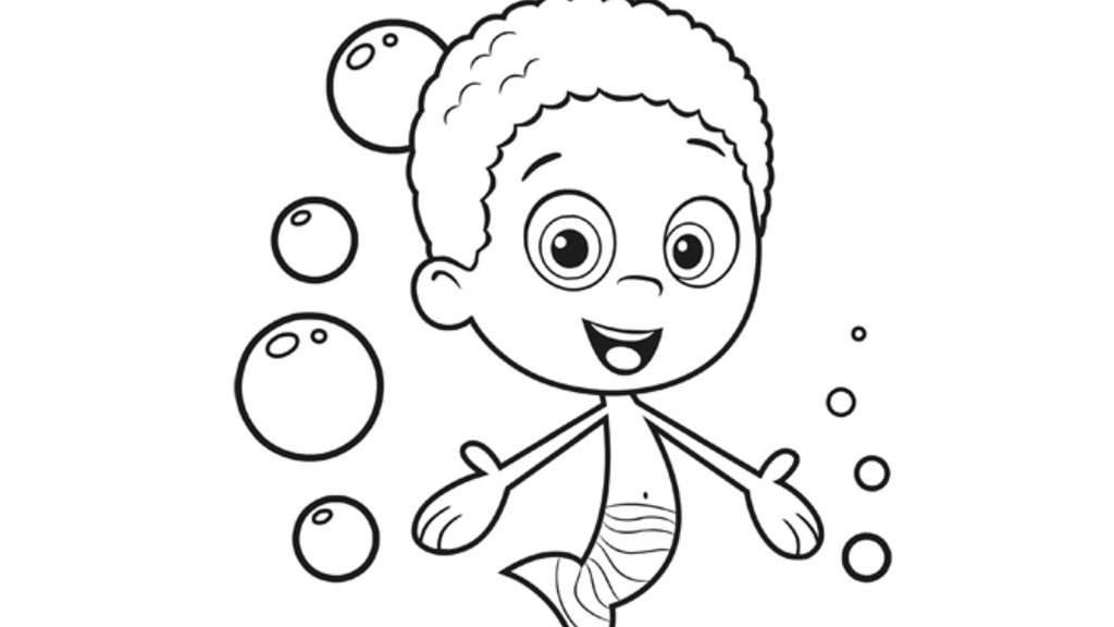 bubble guppies goby colouring pages for preschoolers