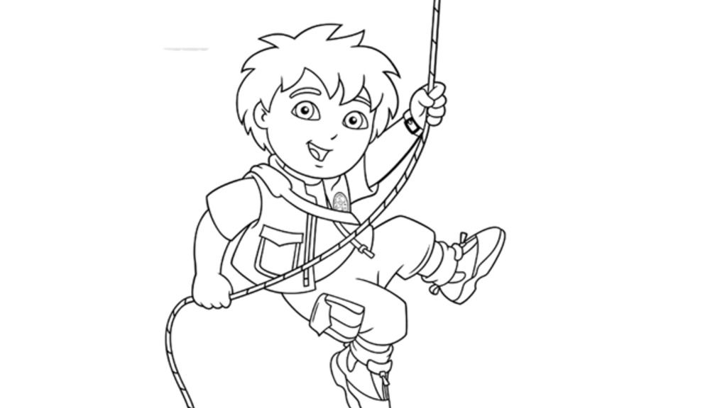 Go, Diego, Go!|Diego climbing a rope: Colouring Pages for