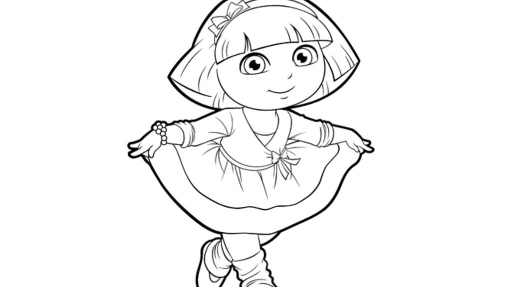 Dora The Explorer Dora Dancing Colouring Pages For
