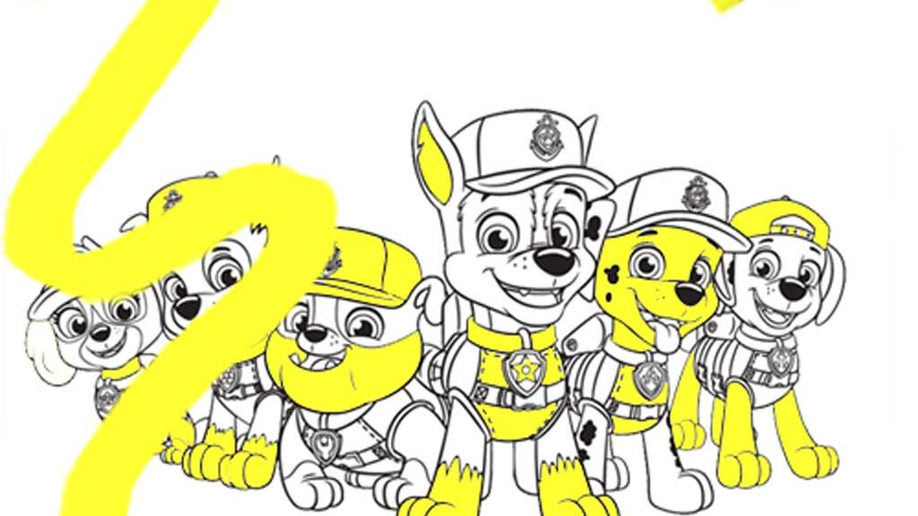 Paw Patrol Sea Patrol Group Colouring Page