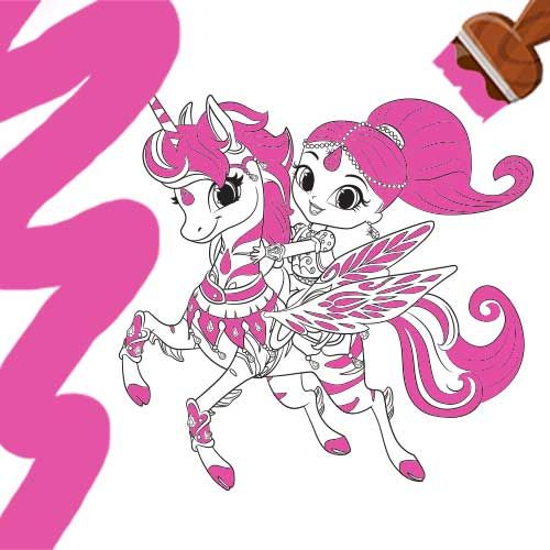Shimmer And Shine: Shimmer And Zahrora Colouring Page