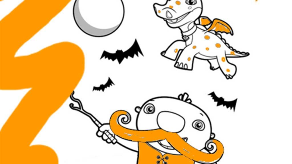 Wallykazam Halloween: Colouring Pages for Preschoolers
