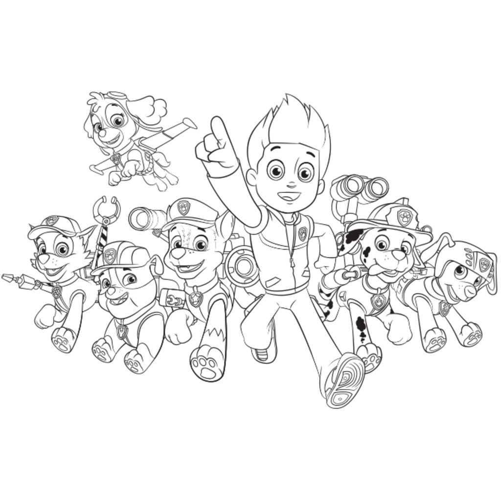 PAW Patrol|Paw Patrol Group: Colouring Pages For Preschoolers