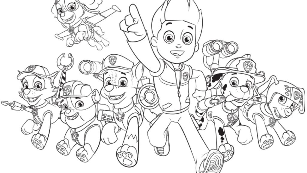 PAW PatrolPaw Patrol Group Colouring Pages for Preschoolers