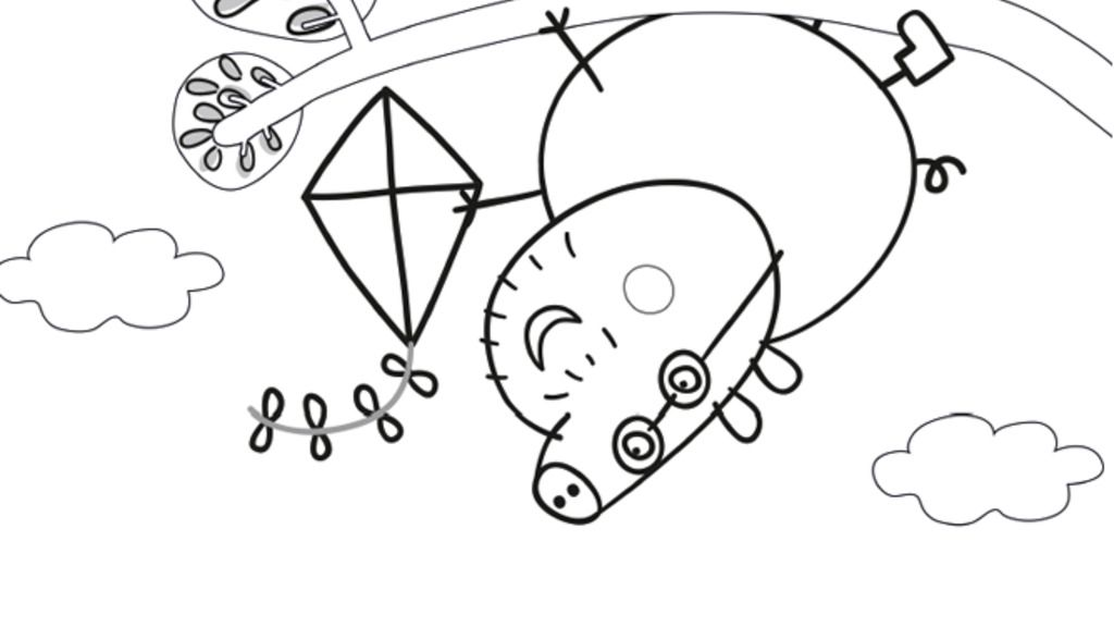 Peppa Pig Daddy Pig Up A Tree Colouring Pages For