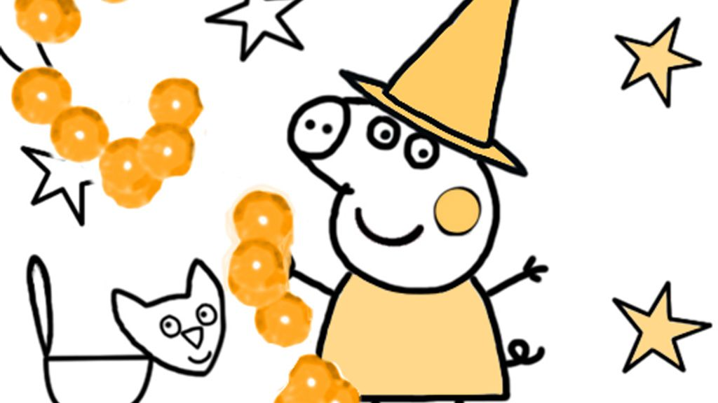 Peppa Pig: Halloween Colouring Page for Preschoolers