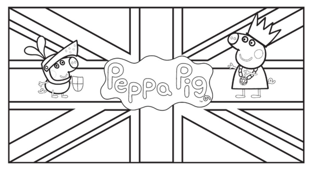 Peppa PigPeppa Pig Union Jack Colouring Pages for Preschoolers