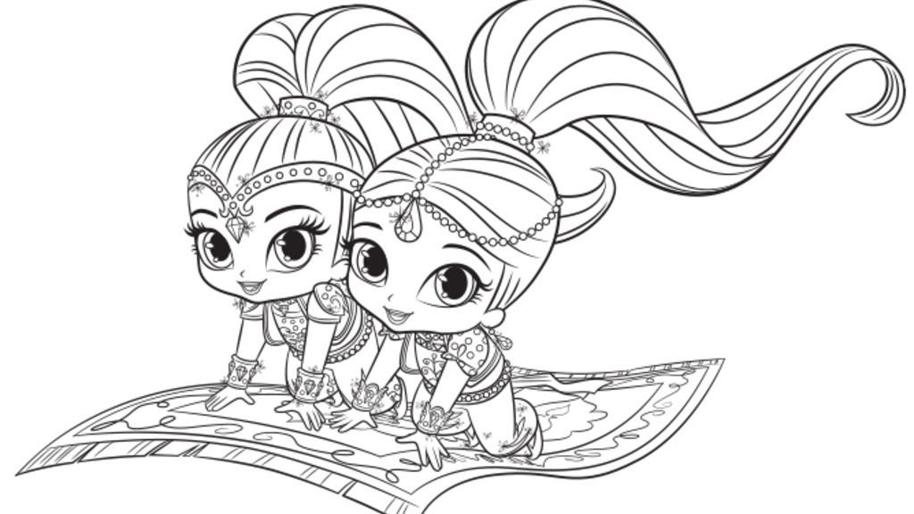 Shimmer And Shine Magic Carpet Colouring Page