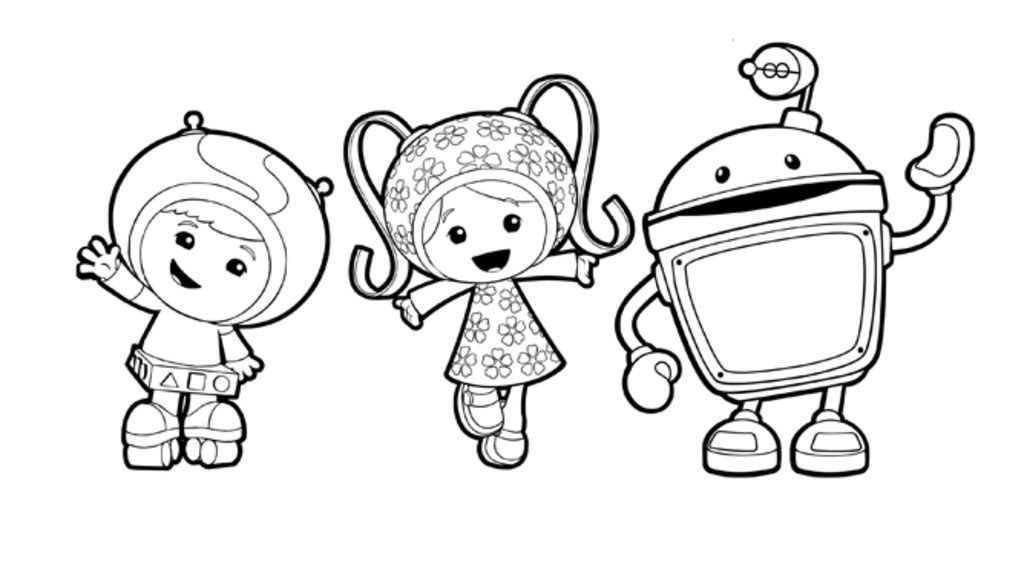 Team UmizoomiMilli Geo and Bot Colouring Pages for Preschoolers