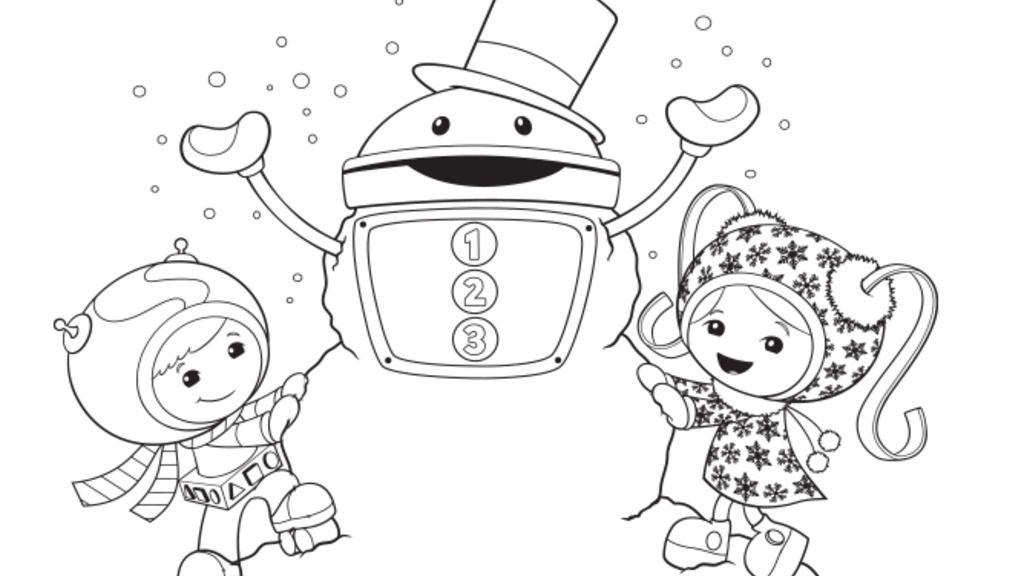 Team Umizoomi Group Christmas Colouring Page Nick Jr UK