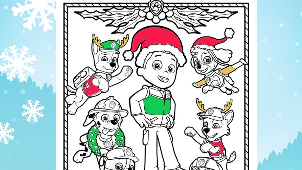 PAW Patrol Paw Christmas Colouring Sheets