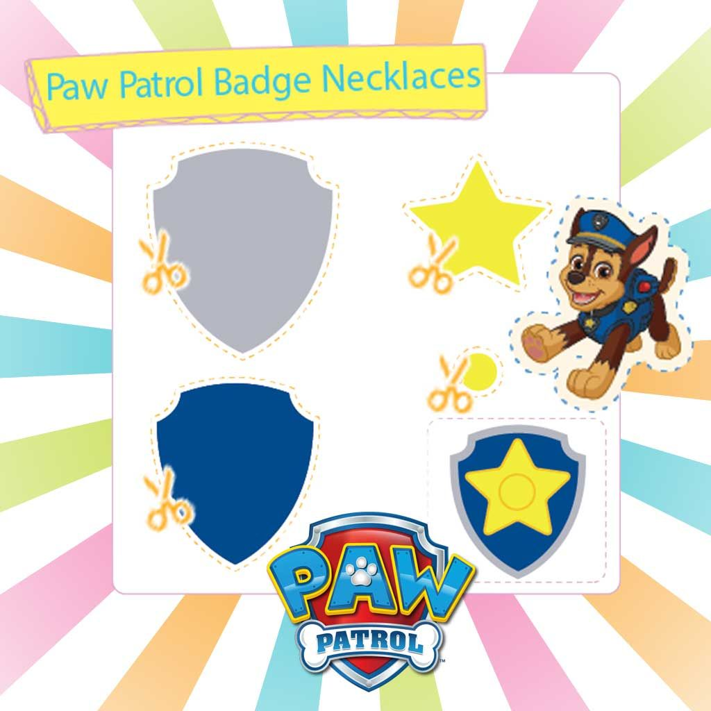 picture about Paw Patrol Printable named PAW Patrol: Printable Badge Necklaces Template Pack