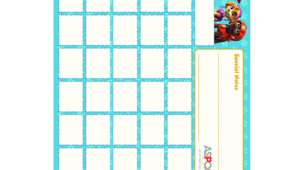 PAW Patrol PAW Patrol Calendar Colouring Pages for