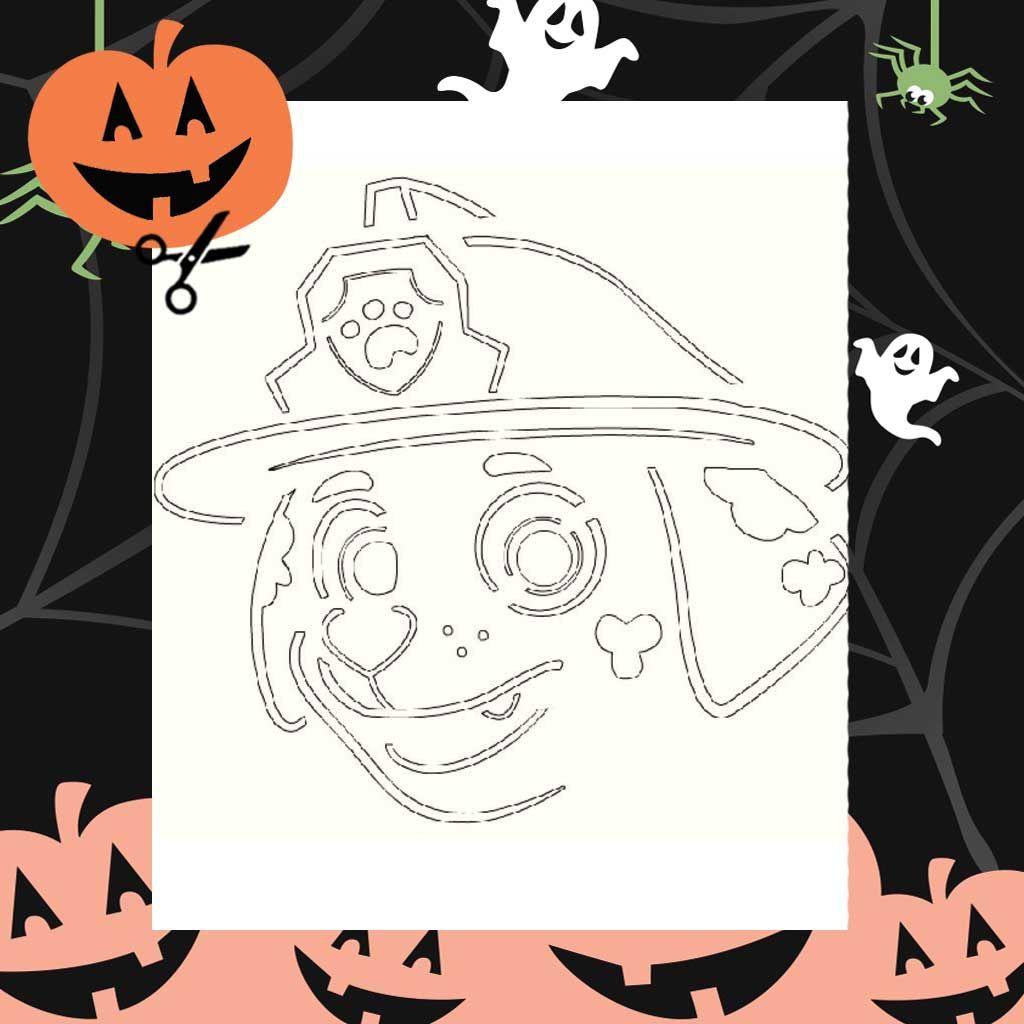 paw patrol  printable marshall pumpkin stencil