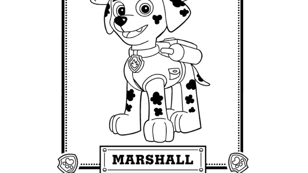 Paw Patrol Paw Patrol Meet Marshall Colouring Pages For