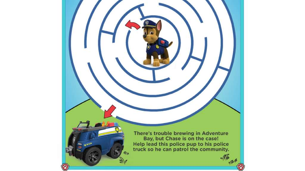 PAW Patrol|PAW Patrol - Maze Activities: Colouring Pages