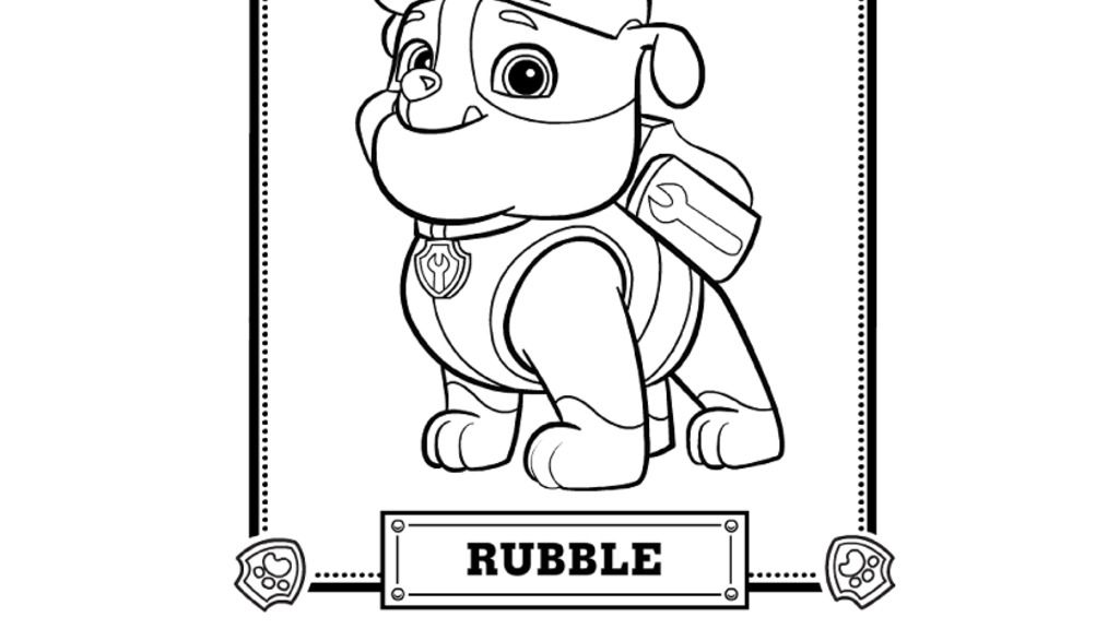 PAW Patrol PAW Patrol Meet Rubble Colouring Pages for