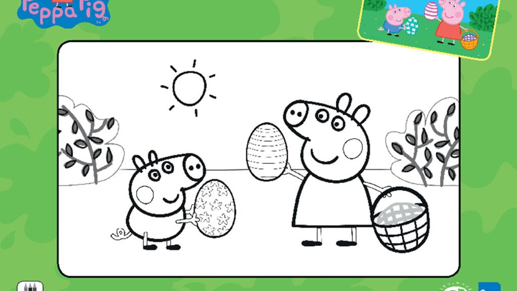 Peppa Pig Easter Colouring Activity Sheet
