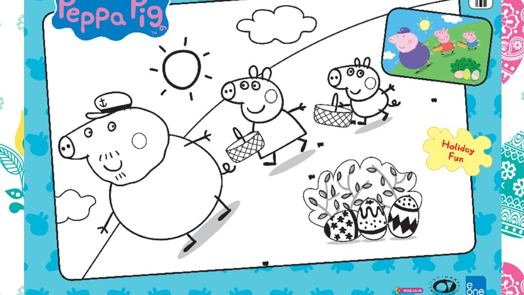 Peppa Pig Easter Colouring Sheet
