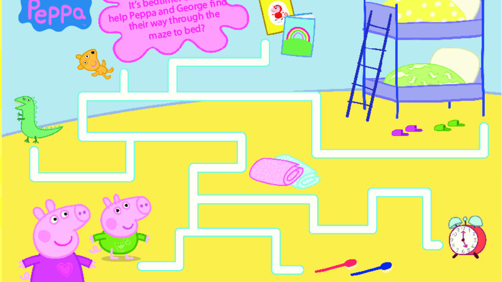 Peppa Pig Peppa Pig Bedtime Maze Colouring Pages For