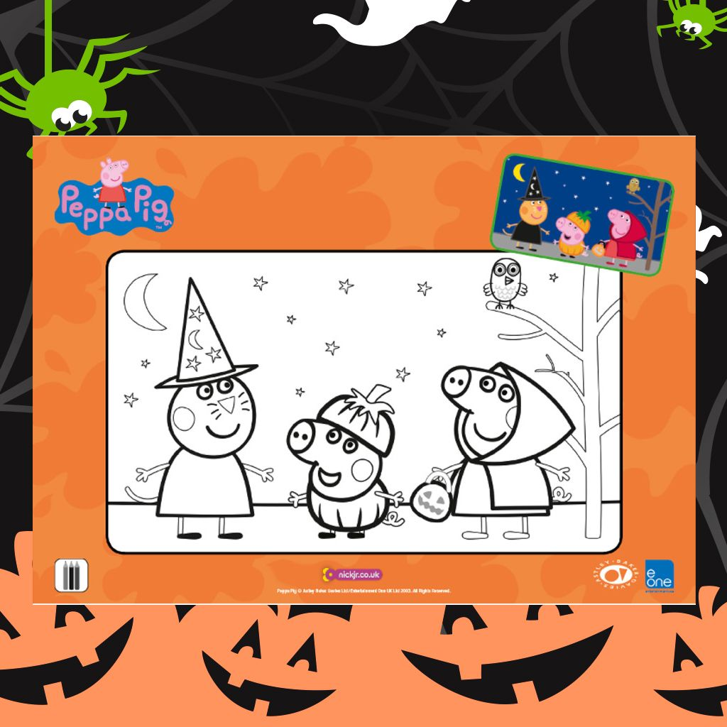 Peppa pig halloween colouring sheet colouring pages for preschoolers