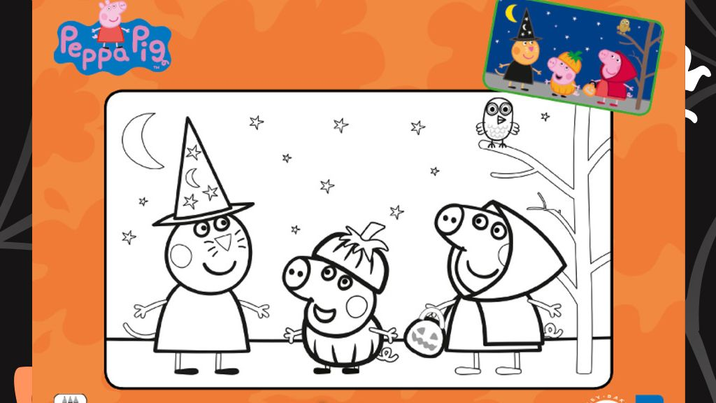 Peppa Pig Halloween Colouring Sheet