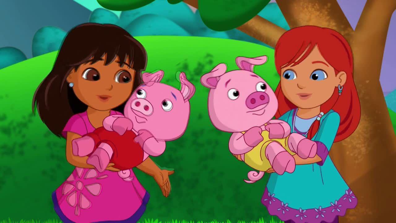 Dora ayuda a los tres cerditos